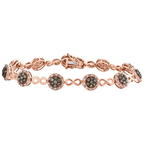 "10K Rose Gold Brown Diamond Infinity Link 8mm Statement Bracelet 7"" | 2.20 CT ."