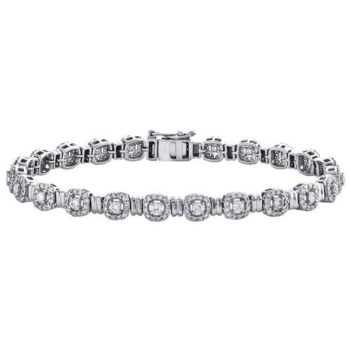 "14K White Gold Round Diamond Cluster Halo Link Bracelet 7"" | 5.50mm | 2.20 CT."