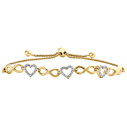 10K Yellow Gold Diamond Infinity Heart Link 7mm Adjustable Bolo Bracelet 0.08 CT