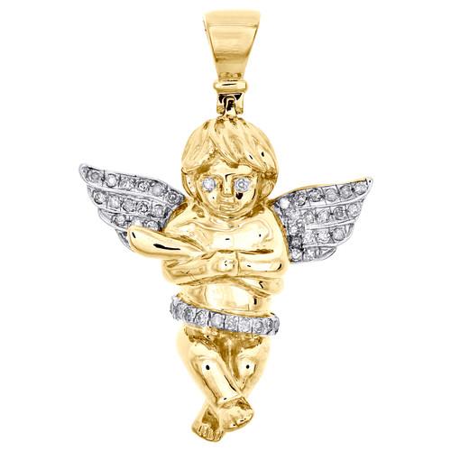 "10K Yellow Gold Round Diamond Mini Baby Angel Pendant 1.30"" Pave Charm 1/5 CT."