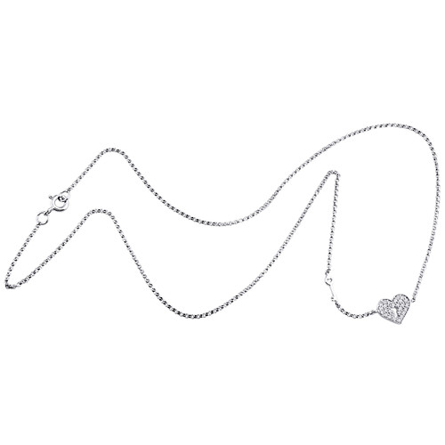 14K White Gold Diamond Key to My Heart Necklace Charm Fancy Rolo Chain 1/6 CT.