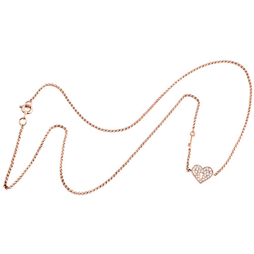 """14K Rose Gold Diamond Key to My Heart Necklace Charm 16"""" Fancy Rolo Chain 1/6 CT"""