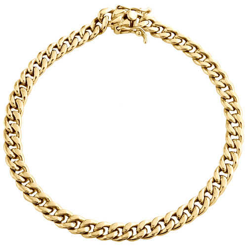 Mens 10K Yellow Gold 6mm Hollow Miami Cuban Link Box Clasp Bracelet 8 - 9 Inch