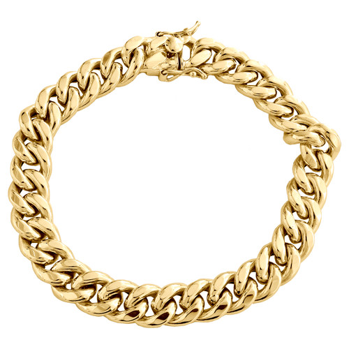 Mens 10K Yellow Gold 10mm Hollow Miami Cuban Link Box Clasp Bracelet 8 - 9 Inch