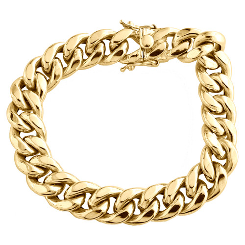 Mens 10K Yellow Gold 12mm Hollow Miami Cuban Link Box Clasp Bracelet 8 - 9 Inch