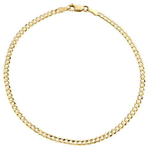 14K Yellow Gold 2.50mm Solid Plain Curb Cuban Link Anklet / Bracelet 7 - 10 Inch