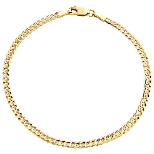 Genuine 14K Yellow Gold 3mm Solid Plain Curb Cuban Link Bracelet 7 - 9 Inches