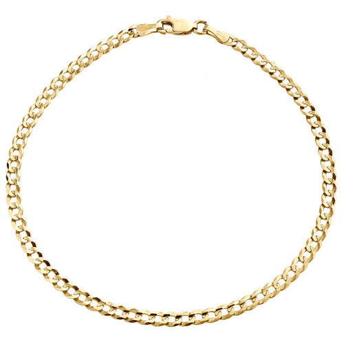 Genuine 14K Yellow Gold 3.50mm Solid Plain Curb Cuban Link Bracelet 7 - 9 Inch