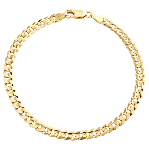 Genuine 14K Yellow Gold 4.50mm Solid Plain Curb Cuban Link Bracelet 7 - 9 Inch