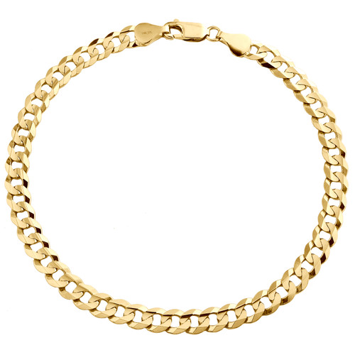 Genuine 14K Yellow Gold 5.50mm Solid Plain Curb Cuban Link Bracelet 8 - 9 Inch