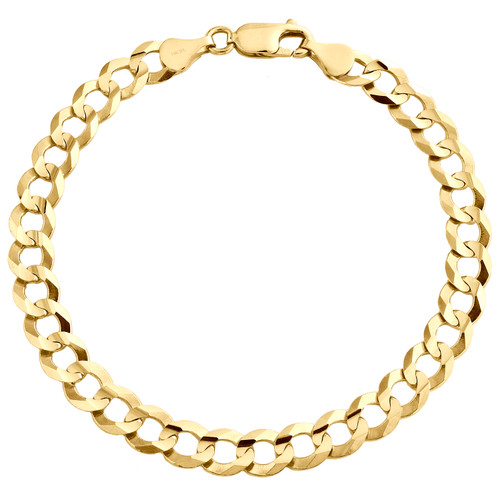 14K Yellow Gold 7mm Solid Plain Curb Cuban Link Lobster Clasp Bracelet 8-9 Inch