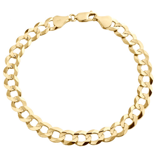 14K Yellow Gold 8mm Solid Plain Curb Cuban Link Lobster Clasp Bracelet 8-9 Inch