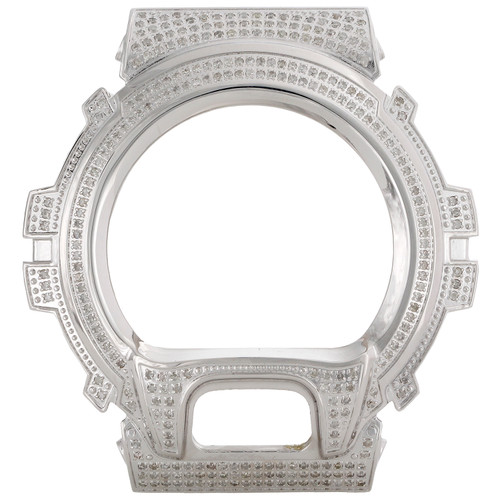 Casio Mens Real White Diamond Custom Watch Case For G-Shock Model DW6900 3 CT. JFL