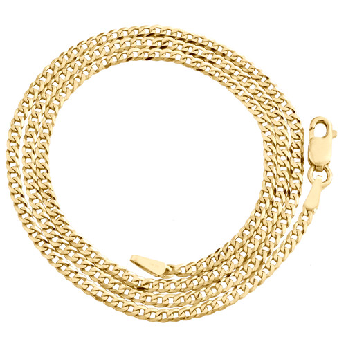 14K Yellow Gold 2mm Solid Plain Curb Cuban Chain Link Necklace 16 - 24 Inches