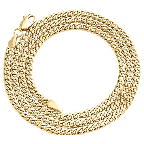 10K Yellow Gold 2.90mm Hollow Miami Cuban Link Chain Lobster Necklace 18-26 Inch