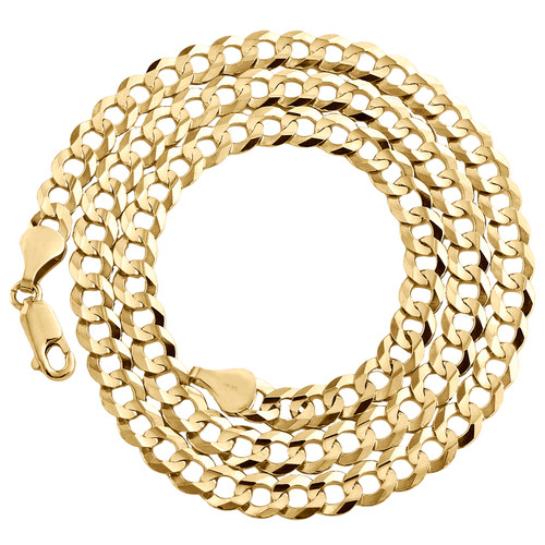 14K Yellow Gold 5.50mm Solid Plain Curb Cuban Chain Link Necklace 18 - 30 Inches