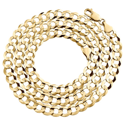 14K Yellow Gold 7mm Solid Plain Curb Cuban Chain Link Necklace 22 - 30 Inches