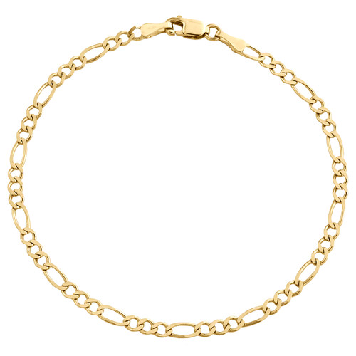 14K Yellow Gold 2.80mm Solid Plain Figaro Link Bracelet Lobster Clasp 7 - 9 Inch