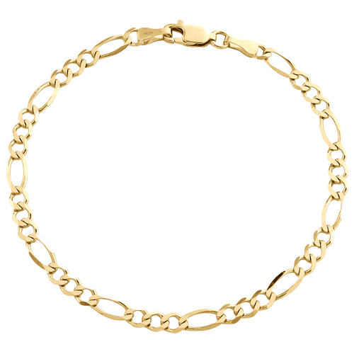 14K Yellow Gold 3.80mm Solid Plain Figaro Link Bracelet Lobster Clasp 7 - 8 Inch