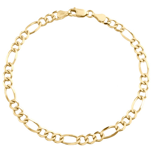 14K Yellow Gold 4.80mm Solid Plain Figaro Link Bracelet Lobster Clasp 7 - 9 Inch