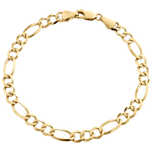 14K Yellow Gold 5.90mm Solid Plain Figaro Link Bracelet Lobster Clasp 8 - 9 Inch