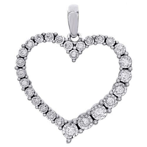 "14K White Gold Diamond Outline Heart Pendant 0.85"" Illusion-set Charm 1/6 CT."