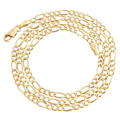 Genuine 14K Yellow Gold 2.85mm Solid Plain Figaro Link Chain Necklace 16-24 Inch