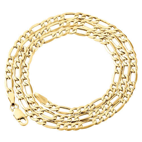 Genuine 14K Yellow Gold 3.80mm Solid Plain Figaro Link Chain Necklace 16-24 Inch