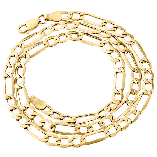 Genuine 14K Yellow Gold 5.90mm Solid Plain Figaro Link Chain Necklace 18-30 Inch