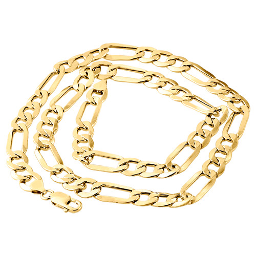 Genuine 14K Yellow Gold 10mm Solid Plain Figaro Link Chain Necklace 20-30 Inch