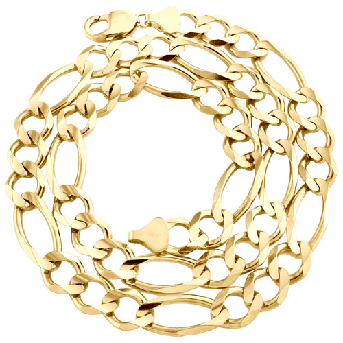 Genuine 14K Yellow Gold 12mm Solid Plain Figaro Link Chain Necklace 20-30 Inch