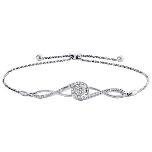 10K White Gold Diamond Cluster Infinity Link 9mm Adjustable Bolo Bracelet 1/2 CT