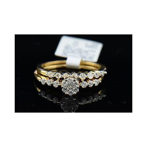 Flower Design Diamond Bridal Set 14K Yellow Gold Round Wedding Ring 1/2 Tcw.