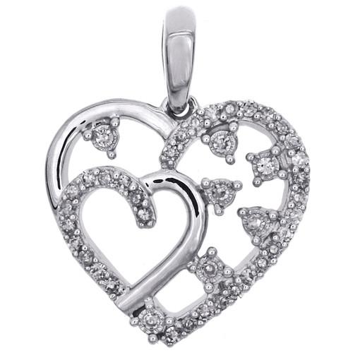 "14K White Gold Round Diamond Cluster Heart Pendant 0.75"" Statement Charm 1/6 CT."