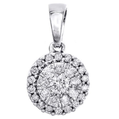 "10K White Gold Round Cut Diamond Circle Halo Pendant 0.60"" Cluster Charm 1/4 CT."