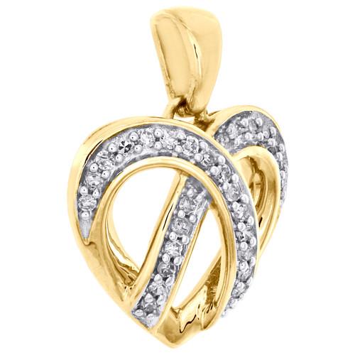 "10K Yellow Gold Round Diamond Ribbon Heart Pendant 0.65"" Statement Charm 1/10 CT"