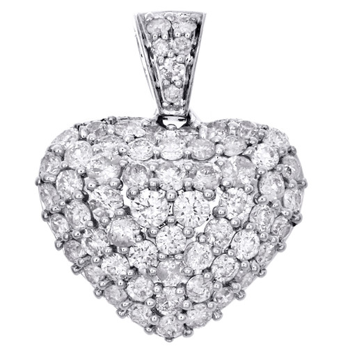 "10K White Gold Round Diamond Domed Heart Pendant 0.75"" Statement Charm 1.25 CT."
