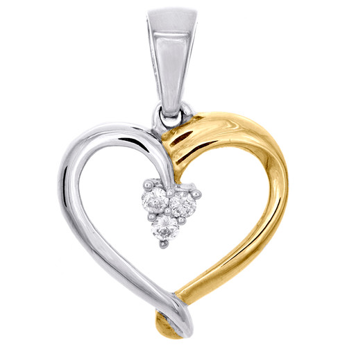 """Sterling Silver Two Tone Round Diamond Heart Cluster Pendant 0.80"""" Charm 1/20 CT"""