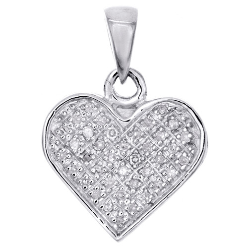 """Sterling Silver Round Diamond Statement Heart Pendant 0.70"""" Pave Charm 1/10 CT."""