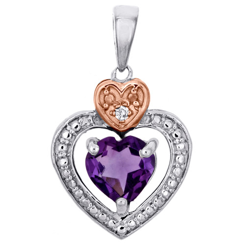 Sterling Silver Created Amethyst Round Diamond Double Heart Pendant Charm 3/4 CT