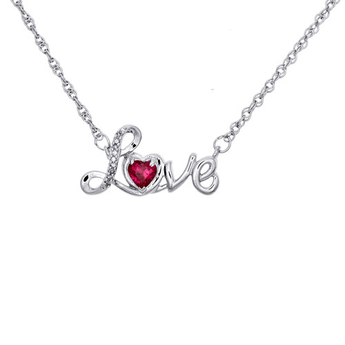 "Sterling Silver Diamond & Created Ruby Heart LOVE 17"" Statement Necklace 1/2 CT."