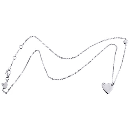 "Sterling Silver Round Diamonds Statement Love & Heart Necklace 17"" Charm 1/20 CT"