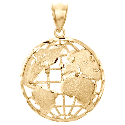"""10K Yellow Two Tone Gold World Map Diamond Cut Pendant 1.50"""" Statement Charm"""