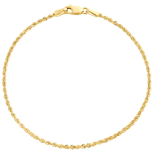 14K Yellow Gold 1.50mm Solid Diamond Cut Rope Bracelet Lobster Clasp 7-8 Inch