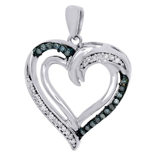 "10K White Gold Blue Diamond Cut Out Double Heart Pendant 0.90"" 0.16 CT."