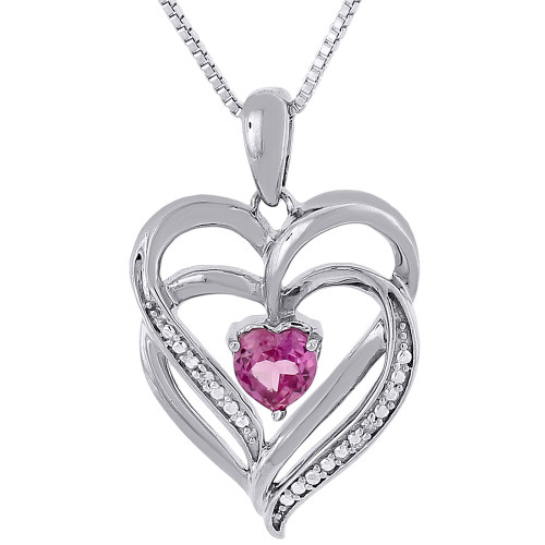 Diamond Heart Pendant .925 Sterling Silver Created Pink Sapphire w/ Chain .71 Ct