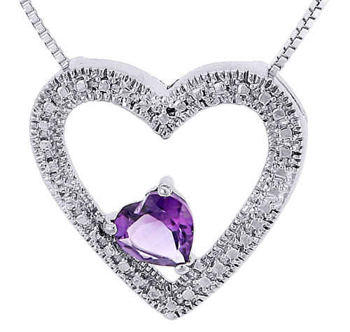 Amethyst Created Heart .925 Sterling Silver Pendant with Chain Necklace 0.67 Tcw