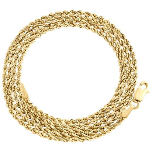 14K Yellow Gold 1.50mm Solid Diamond Cut Rope Chain Link Necklace 16 - 26 Inches