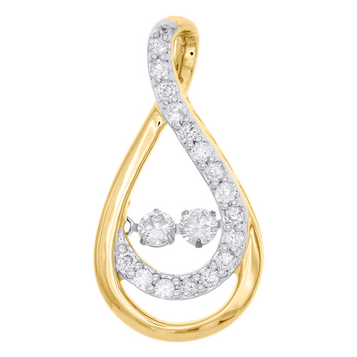 10K Yellow Gold Two Stone Solitaire Dancing Diamond Infinity Pendant 0.50 CT.