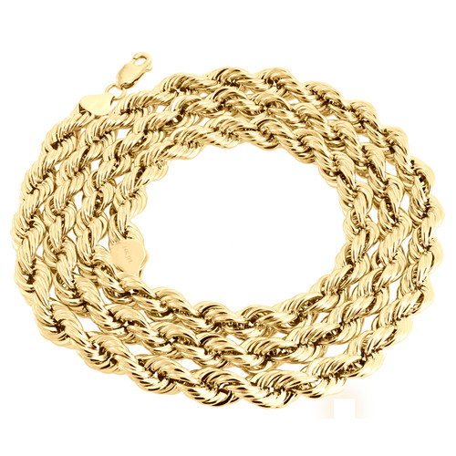 14K Yellow Gold 8mm Solid Diamond Cut Rope Chain Link Necklace 22 - 30 Inches